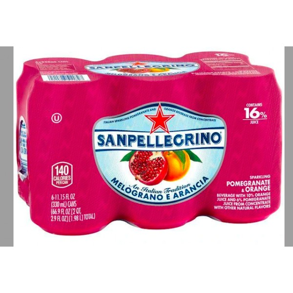 San Pelegrino Sparkling Beverages Melograno E Arancia 6pk
