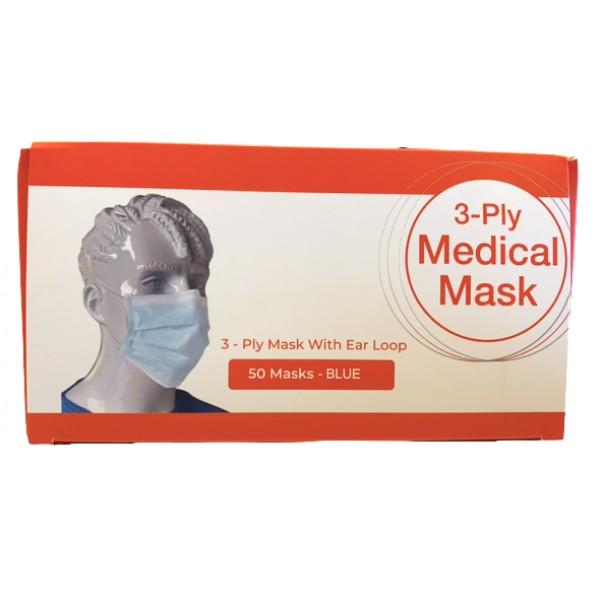 3-Ply Medical Mask 50 Masks blue