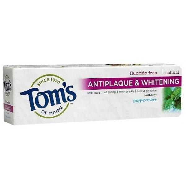 Toms  Flouride Free Peppermint, Tartar Control+Whitening 4.7 oz