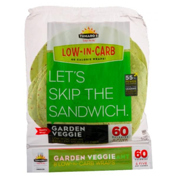 Tumaros Low Carb Wraps, Garden Veggie 8 ct